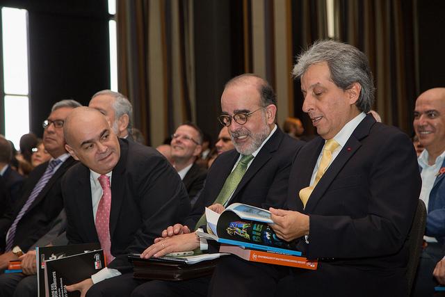 Ministro del Ambiente, Manuel Pulgar-Vidal; Viceministro de Gestión Ambiental, Mariano Castro; y Viceministro de Desarrollo Estratégico de Recursos Naturales, Gabriel Quijandría.