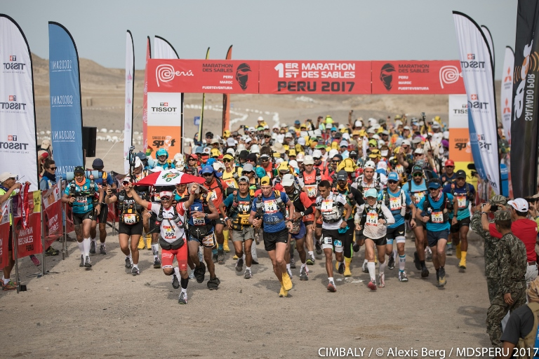 Partida de la primera etapa en Cahuachi, Nazca.