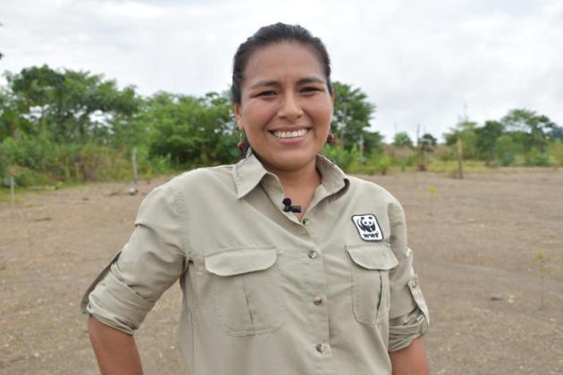 Ingeniera forestal Edith Condori, responsable del equipo de WWF Perú. Foto WWFD Perú.