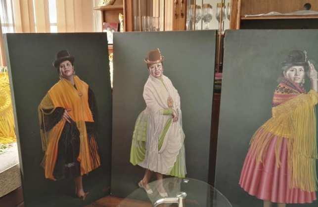 Cholitas alteñas en el pulso de la artista plástica boliviana Sofía Monroy.