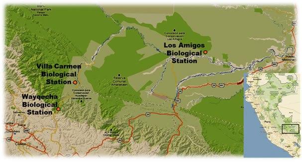 Mapa con la localización de las tres estaciones de ACCA en Cusco y Madre de Dios.